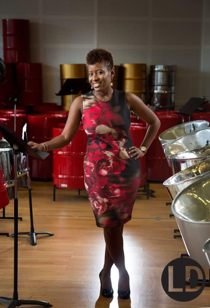 Dr Mia Gormandy photographed at the UTT steelband orchestra room