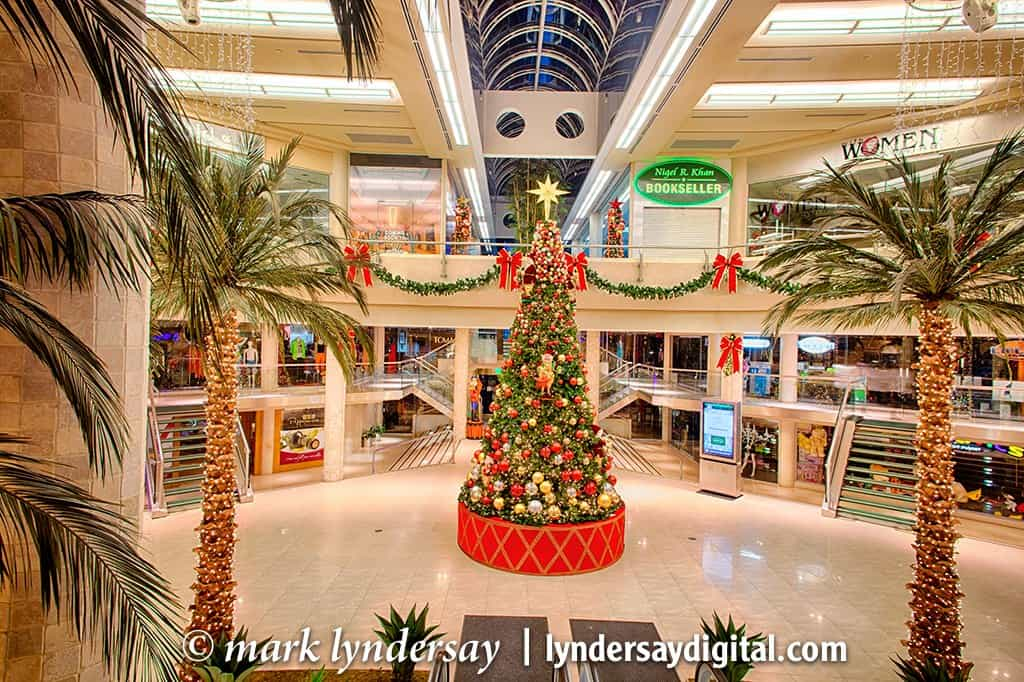 West Mall decorated for Christmas