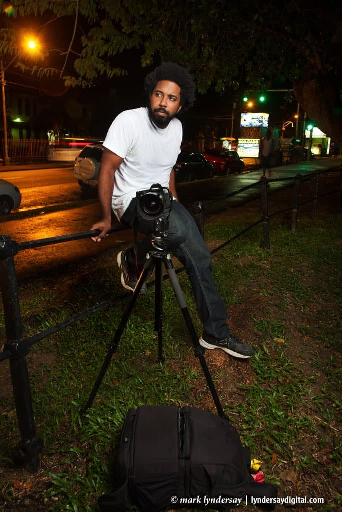 Photographer Marlon James photographed at the Queen's Park Savannnah