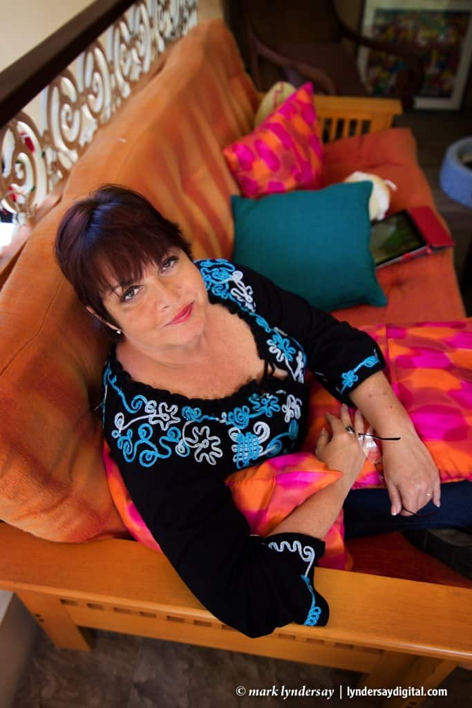 Writer Sharon Millar photographed at her home