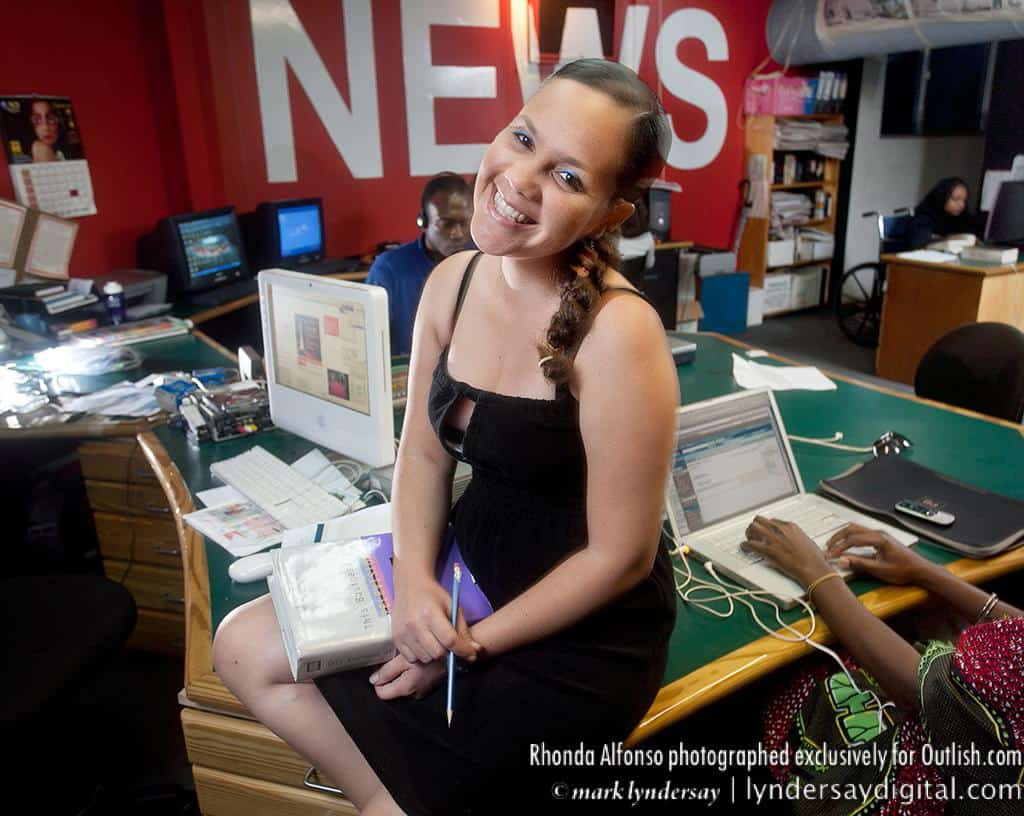 Rhonda Alphonso in the newsroom of Gayelle the Channel